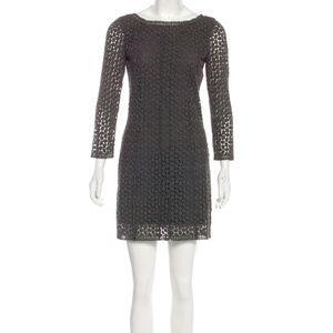 Diane von Furstenberg Crochet Gray Mini Dress